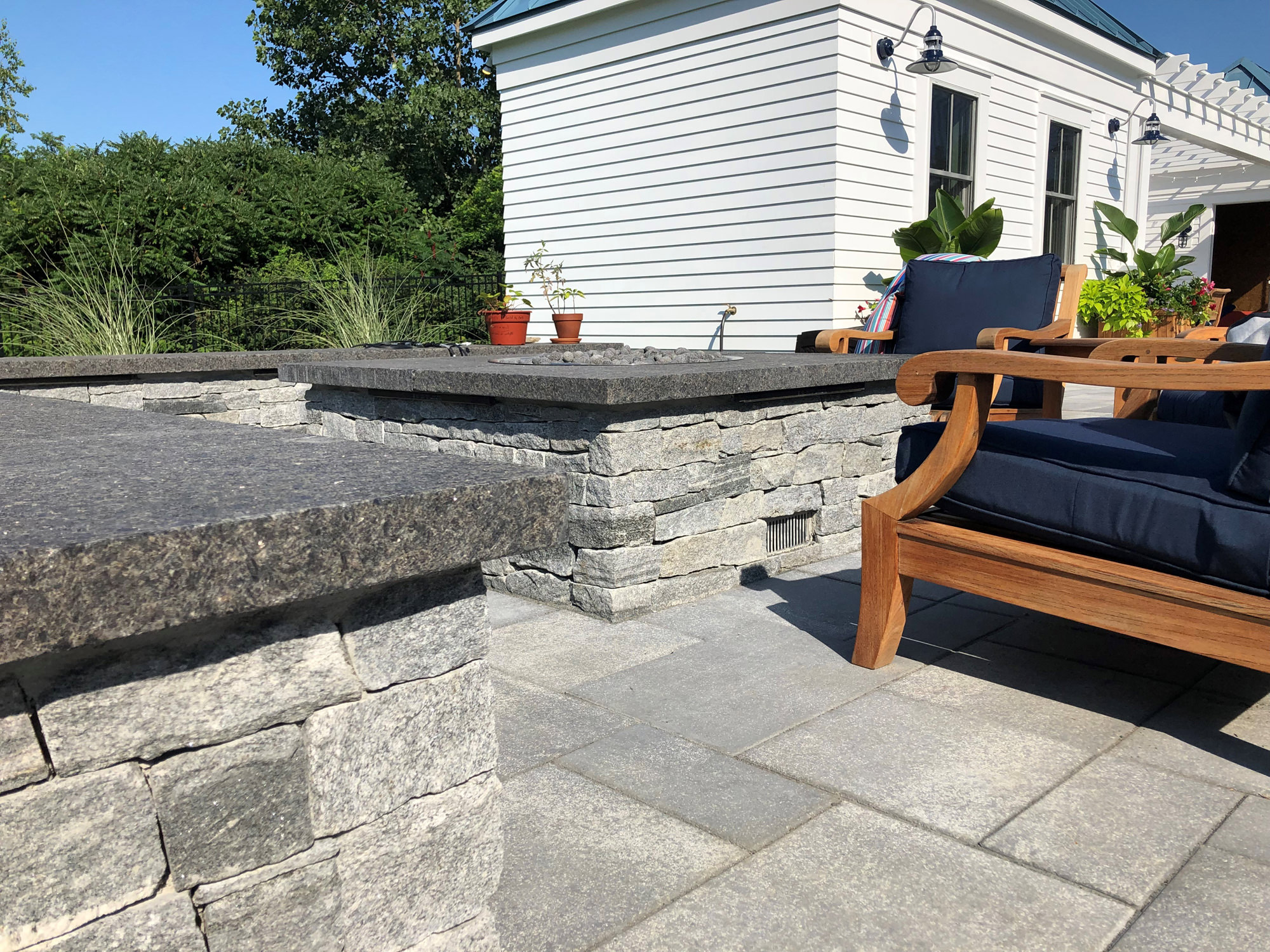 stone wall and stone deck